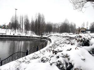 بارش برف بهاری در سرعین، شهر چشمه های بهشتی+ عکس